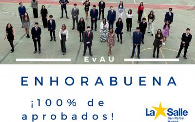 Bachillerato. 100% aprobados en la EvAU. ¡Felicidades!